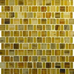 "Glass Tile Oasis - Sunflower Yellow Pool Frosted Glass - Sheet size:  12 3/4"" x 12 3/4"".     Tile Size:  1"" x 1"" and 1/2"" x 1""     Tiles per sheet:  192     Tile thickness:  1/4""    Recycled Components:  25-70%     Sheet Mount: Paper Face      Sold by the sheet      -  These tiles are each a one of a kind work of art. Each of the six styles feature complimentary colors  shot through with transparent layers of contrasting colors  giving the tiles a unique feeling of depth. They are stacked into square and rectangular sizes to create a unique repeating pattern.These tiles are hand-poured and will have a certain amount of variation and variegation of color  tone  shade and size. Additionally  you will notice creases  wrinkles  shivers  waves  bubbles topped off with a natural surface to catch all forms of light for a brilliant effect. These characteristics of natural glass only serve to enhance the final beauty of the installation."