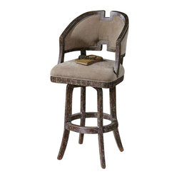 "Uttermost Onora Weathered Barstool - Plush, camel brown velvet with a stylish greek key inspired, white poplar swivel frame. Weathered finish shows nutmeg stained wood grain with toffee chipped paint under a hand rubbed glaze. Plush, camel brown velvet with a stylish greek key inspired, white poplar swivel frame. Weathered finish shows nutmeg stained wood grain with toffee chipped paint under a hand rubbed glaze. Seat height is 30.5""."