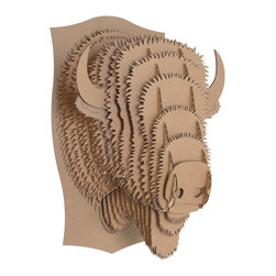 Cardboard Safari - Billy the Bison Trophy Head, Brown, Large - Our Bison Cardboard Trophies are laser-cut for precision fit and easy assembly using slotted construction. They look great in their native brown or white and can be decorated with paint, glitter, wrapping paper or other craft materials.