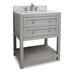 Hardware Resources - VAN103-30-T Jeffrey Alexander Vanity with Preassembled Top and Bowl in Grey - Jeffrey Alexander Vanity with Preassembled Top and Bowl by Hardware Resources