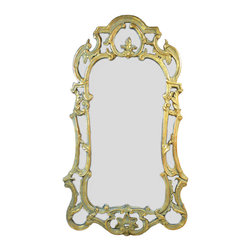 Lavish Shoestring - Consigned Large Scroll Frame Wall Mirror, Vintage Italian - This is a vintage one-of-a-kind item.