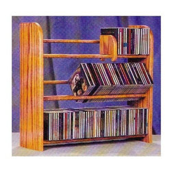 Wood Shed - 3 Row Dowel CD Rack (Unfinished) - Finish: UnfinishedCapacity: 165 CD's. Made from solid oak. Pictured in Honey oak finish. 24.25 in. W x 7.25 in. D x 21.5 in. H