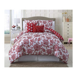 Jordin 5-Piece Reversible Quilt Set, Red - If red is an overwhelming color for you, trying a red print rather than a solid might be a good way to go. This quilted floral bed set is a great example of a less overwhelming red.