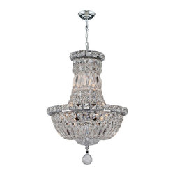 "Worldwide Lighting - Empire 6-Light Chrome Finish & Clear Crystal Chandelier 12"" D x 16"" H Mini Small - This stunning 6-light crystal chandelier only uses the best quality material and workmanship ensuring a beautiful heirloom quality piece. Featuring a radiant chrome finish and finely cut premium grade crystals with a lead content of 30%, this elegant chandelier will give any room sparkle and glamour."