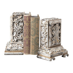 Sterling Industries - Carved Bookends in White with Gold Highlight - Carved bookends in white with gold highlight by Sterling Industries