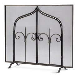 Gate of Thrones Fireplace Screen - Like the appurtenances that grace English country estates in Yorkshire, the Gate of Thrones Fireplace Screen boasts a dramatic yet refined scrollwork that needs no additional adornment. A handsome accent to a fireplace either in use or idle, the screen imparts an air of casual refinement to your transitional decor.