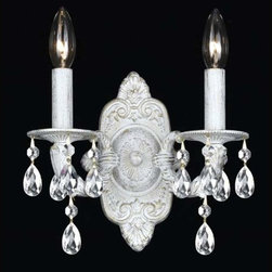 Crystorama Lighting Group - Hampton Antique White Ornate Two-Light Wall Sconce Draped with Clear Hand Cut Cr - -Features Majestic Wood Polished Crystal  Crystorama Lighting Group - 5022-AW-CL-MWP
