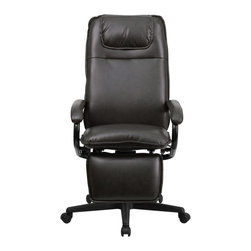 Flash Furniture - Flash Furniture Office Chairs Leather Executive Swivels X-GG-NB-27107-TB - Go from sitting to a Reclined and Relaxed position in seconds with this Reclining High Back Executive Office Chair! Now you can have the best of both worlds with this dual designed office chair that offers you the comfort of a recliner in an office chair. This office chair offers you the standard pneumatic seat height adjustment with the added bonus of a reclining back and easy touch adjustable footrest. [BT-70172-BN-GG]