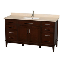 "Wyndham Collection - Hatton 60"" Dark Chestnut Single Vanity w/ Ivory Marble Top & Square Sink - Bring a feeling of texture and depth to your bath with the gorgeous Hatton vanity series - hand finished in warm shades of Dark or Light Chestnut, with brushed chrome or optional antique bronze accents. A contemporary classic for the most discerning of customers. Available in multiple sizes and finishes."