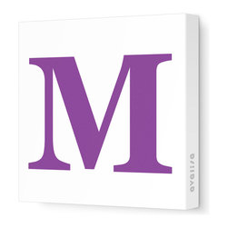 """Avalisa - Letter - Upper Case 'M' Stretched Wall Art, 12"""" x 12"""", Purple - Spell it out loud. These uppercase letters on stretched canvas would look wonderful in a nursery touting your little one's name, but don't stop there; they could work most anywhere in the home you'd like to add some playful text to the walls. Mix and match colors for a truly fun feel or stick to one color for a more uniform look."""