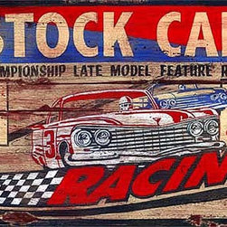 Red Horse Signs - Stock Car Racing Large Vintage Signs - Bright  red  and  blue  on  distressed  wood  make  this  vintage  Stock  Car  Racing  sign  is  an  instant  classic  that  fits  well  in  any  rec  room    game  room  or  man  cave.  Measuring  20  x  32    this  rustic  sign  is  the  perfect  gift  for  race  fan  and  car  enthusiast  alike.