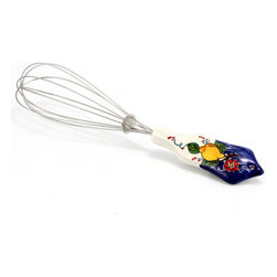 Artistica - Hand Made in Italy - Limone-Fiore: Balloon Whisk (18/10 S/Steel and Ceramic Handle) Lemon/Blue - Our all new and exclusive Limone Fiore collection was inspired by the renowned Amalfi Coast lemons