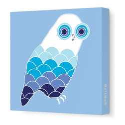"""Avalisa - Animal - Owl Stretched Wall Art, 28"""" x 28"""", Blue - Bird up! The ever-popular owl as you've never seen it before, with scallop-motif feathers and concentric circle eyes. Hang this sleek, stretched wall art in a child's bedroom or play area for a sense of wisdom with whimsy."""