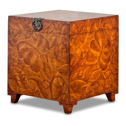 TerraSur - Amaro Hand Painted Cube - Hand painted cube with storage space.  Soft close hinge.  Made in Peru