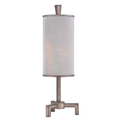 Quoizel - Quoizel QZ-CKLW1731T - A suave and sophisticated design, the Longview table lamp is perfect for the living room, bedroom or den. The steel base compliments the silver metal shade in a subtle, yet attractive way.
