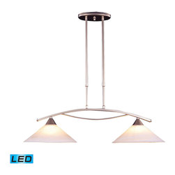 ELK Lighting - ELK Lighting 6501/2-LED Elysburg 2-Light Island Lights in Satin Nickel - The geometric lines of this collection offer harmonious symmetry with a sophisticated contemporary appeal. A perfect complement for kitchens, billiard parlors, or any area that requires direct lighting. featured in satin nickel with white marbleized glass or aged bronze finish with tea stained brown swirl glass. - LED, 800 lumens (1600 lumens total) with full scale dimming range, 60 watt (120 watt total)equivalent, 120V replaceable LED bulb included