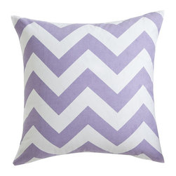 Chevron Pillow Cover - Lavender - Bold, graphic pillows are the simplest way to update a room. Add a few to your sofa, arm chair, and bed; instant makeover! This one comes in a few vibrant colors so you can spread that fresh new look all around the house. Each cover is made of 100% cotton.