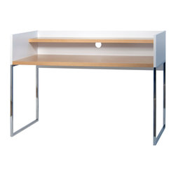 Temahome - Oslo Home Office Desk, Pure White / Oak - Oslo's slim and slender silhouette is taken from its Nordic feel, also present in the piece's name. With this desk it's possible to create your own semi-private working area, as it is surrounded by a vertical structure on its side and back. This structure gives the user some privacy, and offers support where books can lean and notes can be hanged. Simple yet functional, Oslo can adapt to an array of environments from a teenager's room to an office space.
