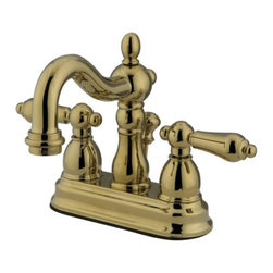 """Kingston Brass - Two Handle 4"""" Centerset Lavatory Faucet with Retail Pop-up KB1602AL - This bathroom faucet features aesthetic colonial elegance with its graceful, round curves and Victorian style spout. This faucet has a deck mount setup and features a 4"""" centerset installation. The body is fabricated from solid brass for durability and long-lasting use. The color finish is made of polished brass for that golden reflective shine, as well as resisting scratches, corrosion and tarnishing. The spout has a reach of 4-3/4"""" and a height of 6-1/4"""". The handles allow for easy management of water volume and temperature. The faucet operates with a ceramic disc valve for droplet-free functionality with the water measured 2.2 GPM (8.3 LPM) and a 60 PSI maximum rate.  An integrated removable aerator is inserted beneath the spout's head piece for conserving water flow. A pop-up drain in a matching finish is included. All mounting hardware is included and standard US plumbing connections are used.  A 10-year limited warranty is provided to the original consumer.. Manufacturer: Kingston Brass. Model: KB1602AL. UPC: 663370005633. Product Name: Two Handle 4"""" Centerset Lavatory Faucet with Retail Pop-up. Collection / Series: Heritage. Finish: Polished Brass. Theme: Classic. Material: Brass. Type: Faucet. Features: Drip-free washerless cartridge system"""