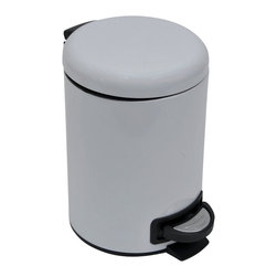 Metal Step Trash Can 3-Liter/0.8-Gal- Solid White - This step trash can is metal and features a lovely solid white color for both the can and the lid. This round shaped trash can brings a playful and contemporary touch to your bathroom and fits easily in rooms with limited Space. It offers a removable inner bucket for an easy bag change and has a non-skid rubber pad base. The durable pedal is designed to last through heavy use. This trash can adds a modern accent to any bathroom or under a desk with its capacity of 3-Liter/0.8-Gal. Diameter of 6.69-Inch and height of 9.84-Inch. Wipe clean. Color solid white. Complete your decoration with other products of the same collection. Imported.