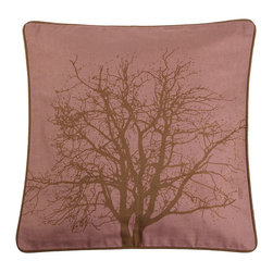 Contemporary 100% Cotton Berry Pillow Cover - A stark silhouette of a tree graces its 100% cotton surface, giving it a rustic Nordic appeal.