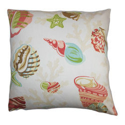 The Pillow Collection - Tait Coastal Pillow Pink Green - This nautical-inspired throw pillow lends a summer-ready style to your interiors. This accent pillow features a fun pattern with sea creatures in various colors like pink, green, red, brown, and natural. Place this square pillow in your living room, bedroom or lounge area for a refreshing twist. Made of 100% soft and plush cotton fabric. Hidden zipper closure for easy cover removal.  Knife edge finish on all four sides.  Reversible pillow with the same fabric on the back side.  Spot cleaning suggested.