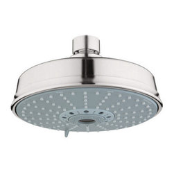"""Grohe - Grohe 27130EN0 Brushed Nickel Rainshower Rustic Rainshower Rustic 2.5 - Product Features:Covered under Grohe s limited lifetime warrantyPremier finishing process - finishes will resist corrosion and tarnishing through everyday useGrohe shower heads will surprise and delight the user with every interactionThe perfect synthesis of form and functionMulti-function water jet shower headShower Head Width: 6-9/16""""Shower Head Depth: 3-7/8""""Shower head rotates on a swivel ball assembly for full-body coverageFlow Rate: 2.5 GPM (gallons-per-minute)Designed to easily install with standard U.S. plumbing connectionsAll hardware required for installation is includedProduct Technologies / Benefits:DreamSpray: The exceptional quality, precision and sheer number of internal parts set these Grohe showers apart from the competition. This unique design distributes the same amount of water to each and every nozzle, resulting in an even spray. So whatever spray pattern suits your mood, it is guaranteed that it will be an all-around exhilarating experience.SpeedClean: Never letting hard-water or grime stop you from enjoying your showerhead to the fullest. Showerheads with GroheÂ's SpeedClean technology have spray nozzles made of high quality silicon material. A simple wipe of a finger ensures a like-new water flow. Yet another way Grohe ensures you make the most of your water experience.About Grohe:At Grohe design goes deeper than just aesthetic trappings. It is a quality feature and is targeted toward the perfect synthesis of form and function. The result is joyous experience you have every time you use one of their products. Grohe subscribes to a straight forward and consumer-centric design philosophy; grounded in the belief that good design must transcend form and function to create an emotional bond with its users. With a"""