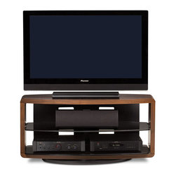 Valera Swiveling TV/Media Stand - The Valera open TV stand beautifully frames a home theater system and provides a semi-enclosed appearance. The center tempered grey tinted glass shelf(s) is adjustable and the back panel features integrated wire management to keep cables under control.