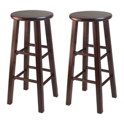 "Winsome Wood - Winsome Wood Set of 2 - 29 Inch Bar Stool w/ Square Leg - The set comes with 2 bar stools, essential and stylish black 29"" Assembled Stool with square legs. Perfect for extra seating Overall stool size is 13.60""W x 13.60""D x 29.1""H. Solid wood in Antique Walnut Finish. Barstool (2)"