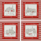 Paragon Decor - Cafes Set of 4 Artwork - Cafe prints are textured and framed in a hand painted red and grey striped frame.