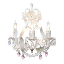 "The Gallery - White Iron Crystal chandelier Lighting with Pink Crystalearts - dressed with Pink Crystalearts. The Garden Collection. Nothing Completes A Room Like A Beautiful Lighting Fixture! This wonderful chandelier is All Wrought Iron and 100% crystal. It's Graceful Design and Beautiful Lines Makes. This chandelier Truly One of A Kind. Assembly Required. Size: H 15"" W 11"". 4 Lights, Shipping 10"