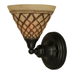 """Toltec - Toltec 40-MB-7185 Wall Sconce Shown in Matte Black Finish - Toltec 40-MB-7185 Wall Sconce Shown in Matte Black Finish with 7"""" Chocolate Icing Glass"""