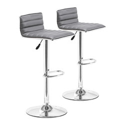 """Zuo - Set of Two Adjustable Zuo Equation Gray Barstools - Set of Two Adjustable Zuo Equation Gray Barstools. Zuo adjustable gray barstools. Set of 2. Chromed steel construction. Gray leatherette upholstery. Adjustable swivel base. From the Equation collection. Assembly required. Seat adjusts from 23"""" to 32"""" high. 31"""" to 38 1/2"""" high. 16 1/2"""" deep. 15 3/4"""" wide.   Zuo adjustable gray barstools.  Set of 2.  Chromed steel construction.  Gray leatherette upholstery.  Adjustable swivel base.  From the Equation collection.  Assembly required.  Seat adjusts from 23"""" to 32"""" high.  31"""" to 38 1/2"""" high.  16 1/2"""" deep.  15 3/4"""" wide."""