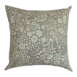 The Pillow Collection - Manchineel Blue 18 x 18 Floral Throw Pillow - - Pillows have hidden zippers for easy removal and cleaning  - Reversible pillow with same fabric on both sides  - Comes standard with a 5/95 feather blend pillow insert  - All four sides have a clean knife-edge finish  - Pillow insert is 19 x 19 to ensure a tight and generous fit  - Cover and insert made in the USA  - Spot clean and Dry cleaning recommended  - Fill Material: 5/95 down feather blend The Pillow Collection - P18-PP-JENN-PORCELAINBLUE-UB-C