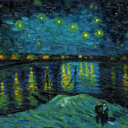 overstockArt.com - Van Gogh - Starry Night Over the Rhone - Hand painted oil reproduction of one of the most famous Van Gogh paintings, Starry Night Over the Rhone. Today it has been carefully recreated detail-by-detail to near perfection as a complete canvas art reproduction. One of today's most recognized paintings, Starry Night by Vincent Van Gogh is a classic painting that invokes emotions from the serenity of the church steeple to the wild abandon of color used for his late night sky. Imagine the movement of the painter as he twists and turns his brush to create the dance between the stars and the clouds under the calm, peaceful village. Vincent Van Gogh's restless spirit and depressive mental state fired his artistic work with great joy and, sadly, equally great despair. Known as a prolific Post-Impressionist, he produced many paintings that were heavily biographical. This work of art has the same emotions and beauty as the original by Van Gogh. Why settle for a print when you can add sophistication to your rooms with a beautiful fine gallery reproduction oil painting?