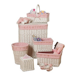 CreativeWare Home - White Finish 6 Pc Learn & Store Hamper/Storage Willow Set - Hamper w/lid and handles. Wastebasket. Tissue holder. Large, Medium & Small Baskets. Beautifuil Rattan Construction. Removable Cotton Blend Liners. Attractive horizontal construction