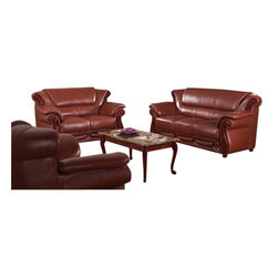 American Eagle Furniture - 7981 Brown Bonded Leather Three Piece Sofa Set With Walnut Finish Wood Trim - The 7981 sofa set has a stylish traditional design with modern flair that will be a great addition for any living room setting. This sofa set comes upholstered in a stunning brown bonded leather on the front where your body touches. Carefully chosen match material is used on the back and sides where contact is minimal. High density foam is placed within each piece for added comfort. The sofa set features walnut finished wood trimming adding to the overall look. The sofa set shown includes a sofa, loveseat, and chair only. The coffee table shown is NOT included.