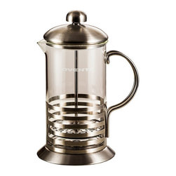 Ovente - Ovente FSH Series Horizontal French Press - Simple, attractive and functional, the Ovente French Press coffee maker features a durable, heat-resistant borosilicate glass beaker and a plastic handle and base. The French press is available in three sizes.