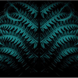 Dark Teal Botanical Print With A Black Background  , 20x30 - Title: In the Woods