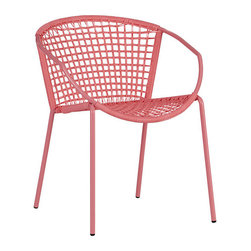 """Sophia Hot Pink Dining Chair - Don't let the """"hot pink"""" in this chair's name fool you; the color isn't as """"hot"""" in person. The pretty pink is a subtle yet stunning statement, especially when a group of four are added around your breakfast table."""