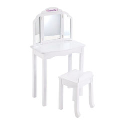 Guidecraft - Guidecraft Expressions White Vanity with Personalization - G87104-102-202-304 - Shop for Vanities from Hayneedle.com! The oodles of customization options on the Guidecraft Expressions White Vanity with Personalization are a great way to express your little princess's personality. Made of wood with a white finish this set comes complete with a vanity and stool. Above the three-sided acrylic mirror you can add your little one's name and you can even choose her favorite font type font color and accompanying graphic. The stool's legs are angled to help prevent tipping too. Safety tested for ages three and older.About GuidecraftGuidecraft was founded in 1964 in a small woodshop producing 10 items. Today Guidecraft's line includes over 160 educational toys and furnishings. The company's size has changed but their mission remains the same; stay true to the tradition of smart beautifully crafted wood products which allow children's minds and imaginations room to truly wonder and grow.Guidecraft plans to continue far into the future with what they do best while always giving their loyal customers what they have come to expect: expert quality excellent service and an ever-growing collection of creativity-inspiring products for children.