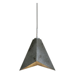Carolyn Kinder - Carolyn Kinder Flint Industrial Modern / Contemporary Pendant Light X-51022 - Angular Sheets Of Industrial Metal In An Antiqued Silver Finish Highlighted With Warm Rust Distressing Make Up The Character Of This Sleek, Elegant Pendant Able To Blend With Todayâs Clean Interior Styles.