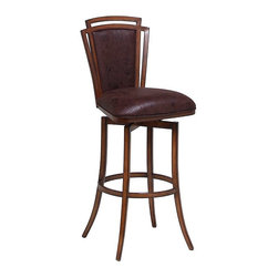 """Pastel Furniture - Pastel Furniture Citrus Grove 30 Inch Swivel Barstool in Brown - The Citrus Grove swivel barstool is beautifully crafted in quality metal Noyer finish with sturdy legs and foot rest. This barstool has a simple yet elegant design that is perfect for any decor. The padded seat is upholstered in Baldwin Chocolate offering comfort and style. Available in 26"""" counter height or 30"""" bar height."""
