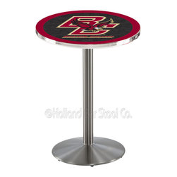 Holland Bar Stool - Holland Bar Stool L214 - Stainless Steel Boston College Pub Table - L214 - Stainless Steel Boston College Pub Table belongs to College Collection by Holland Bar Stool Made for the ultimate sports fan, impress your buddies with this knockout from Holland Bar Stool. This L214 Boston College table with round base provides a commercial quality piece to for your Man Cave. You can't find a higher quality logo table on the market. The plating grade steel used to build the frame ensures it will withstand the abuse of the rowdiest of friends for years to come. The structure is 304 Stainless to ensure a rich, sleek, long lasting finish. If you're finishing your bar or game room, do it right with a table from Holland Bar Stool. Pub Table (1)