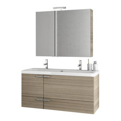 ACF - 47 Inch Larch Canapa Bathroom Vanity Set - Made in engineered wood and mirrored glass and ceramic and finished in larch canapa.