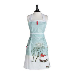 Jessie Steele - Jessie Steele Home For The Holidays Doris Apron - Inspired by vintage post cards, our Doris apron has never sparkled more than in this custom design, finished with long lasting glitter. The pastoral print reminisces on receiving holiday cards reminding you of family and home. A collectors piece that will out shine for seasons to come!