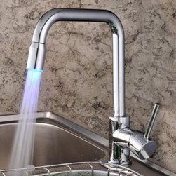 JollyHome - JollyHome Contemporary Color Changing LED Faucet Chrome Finish Kitchen - Brass construction assures a lifetime durable performance.Single control and one hole installation for ease of use.Comes with all necessary accessories for installation