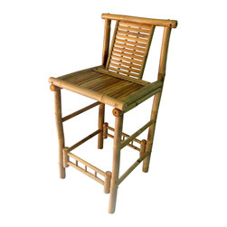 """Master Garden Products - Set of 2 Pieces, Bamboo Tiki Bar Stool with Back Support, 18""""W x 45""""H - Our bamboo bar stools are handcrafted with strong solid bamboo also known as iron bamboo, ensuring longevity in the outdoors and indoors . Comfortable seating with back support. They can be taken down for easy storage. Seat height of 30"""". Sold in a set of 2 pieces."""