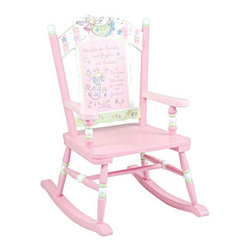 "Levels of Discovery - Fairy Wishes Kid's Rocking Chair - -Fairy Wishes collection. -Pretty in pink with pale green and white accents. -Whimsical, wish-granting fairies adorn the scalloped seat back. -Seat back features a special message: Wishes for Sparkles and Giggles and Smilies and Swirlies and Whirlies for sweet little Girlies! . -Photo greeting card included so child can say thank you in a memorable way. -Includes special under stamp beneath the seat that the customer can personalize with the child's name, the name of the gift-giver and the special occasion when the chair is received. Features: -Collection: Fairy Wishes.-Distressed: No.-Non-Toxic: Yes.-Rocker: Yes.-Age Recommendation: 3 to 6 years.-Weight Capacity: 100 lbs.Specifications: -CPSIA or CPSC Compliant: Yes.-CARB Compliant: Yes.-Green Guard Certified: No.Dimensions: -Overall Height - Top to Bottom: 29"".-Overall Width - Side to Side: 23"".-Overall Depth - Front to Back: 16"".-Seat Height: 12.5"".-Arms: Yes.-Overall Product Weight: 12.8 lbs.Assembly: -Assembly Required: Yes.-Tools Needed: Screwdriver.-Additional Parts Required: No.Warranty: -Product Warranty: 1 Year."