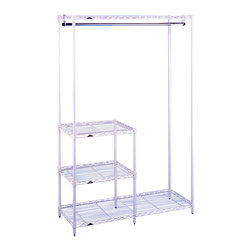 Metro Shelving - White Clothes Drying and Garment Rack with Inset Shelves - Take control of any closet or mudroom with this innovative garment rack. It even comes with adjustable shelving in order to organize smaller items such as purses, shoes, and winter wear. Best of all, its steel wire design holds the heaviest of items while minimizing dust accumulation.